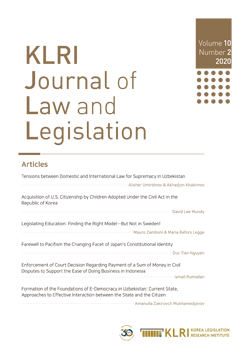 KLRI Journal of Law and Legislation Vol.10 No.2, 2020